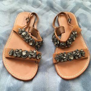 Schutz Mulada Jeweled Leather Band Sandals